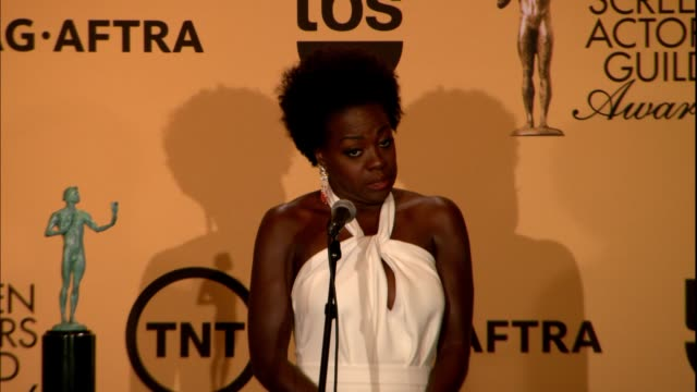 INTERVIEW Viola Davis at 21st Annual Screen Actors Guild Awards Photo Room in Los Angeles CA
