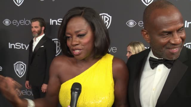 vídeos de stock, filmes e b-roll de interview viola davis on her award winning night at 18th annual instyle and warner bros pictures golden globes afterparty at the beverly hilton hotel... - viola davis
