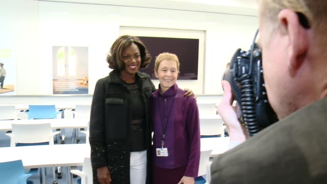 Viola Davis tours the new house with Jackie Lacey and Gail Abarbanel at The Rape Foundation's Dedication Ceremony For The New Stuart House at The...