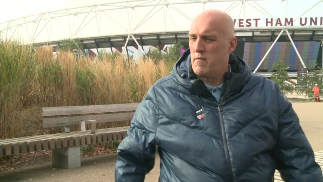violence at west ham v chelsea match queen elizabeth olympic park gregg robson interview sot gregg robson with reporter - ロンドン ストラトフォード点の映像素材/bロール
