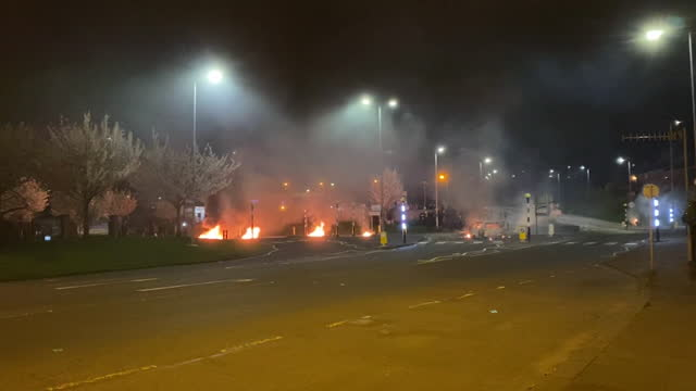 violent clashes between loyalist protestors and riot police in belfast - fire natural phenomenon stock videos & royalty-free footage