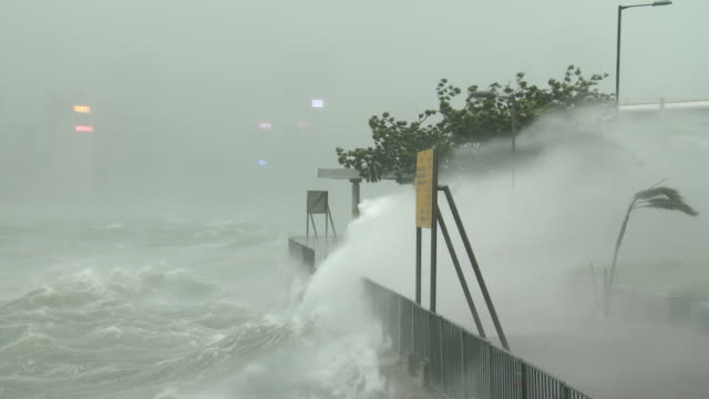 violent wind and storm surge lash waterfront in hong kong as typhoon hato hits city on 23rd august 2017 - gale stock videos & royalty-free footage