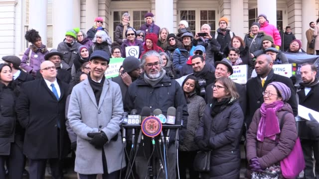 Violently arrested 18 days ago by NYPD and ICE agents and detained for deportation Ravi Ragbir released on January 30 gave press conference with City...