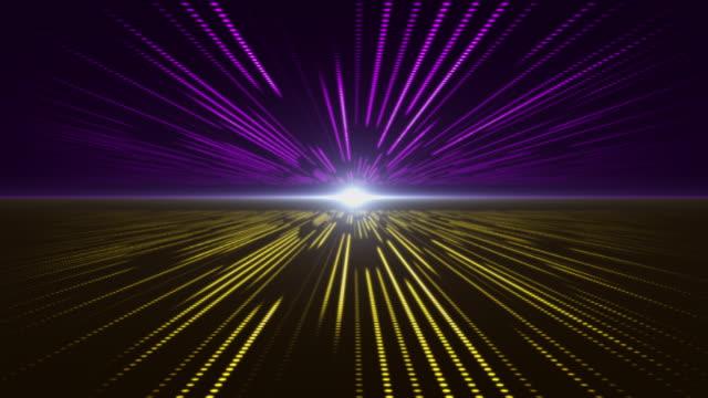 vídeos de stock, filmes e b-roll de violet and yellow tecnologia abstrata perspectiva de fundo digital com luz - néon