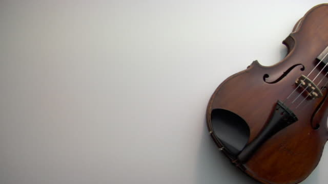 zo, cu, violin and bow on white background - violin stock videos & royalty-free footage