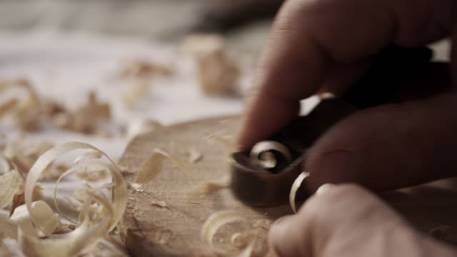violin maker carving - carpenter stock videos & royalty-free footage
