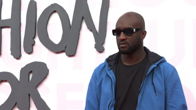 virgil abloh at fashion for relief fashion catwalk - the 71st cannes fillm festival at aeroport cannes mandelieu on may 13, 2018 in cannes, france. - カンヌ・マンデリュー空港点の映像素材/bロール