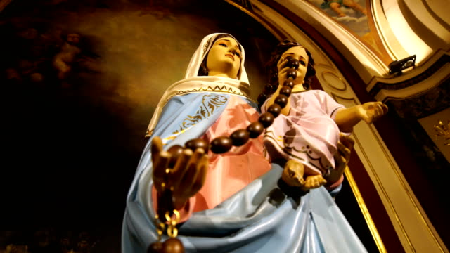 virgin mary  in cathedral - church stock videos & royalty-free footage