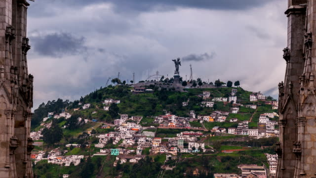 virgen del panecillo quito ecuador timelapse - ecuador stock videos & royalty-free footage