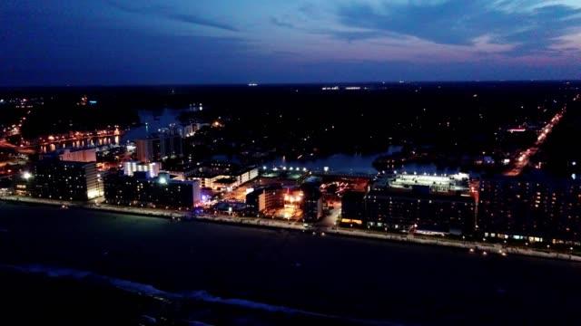 virginia beach at night - virginia beach stock videos & royalty-free footage