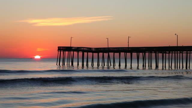 virginia beach fishing pier - virginia beach stock videos & royalty-free footage