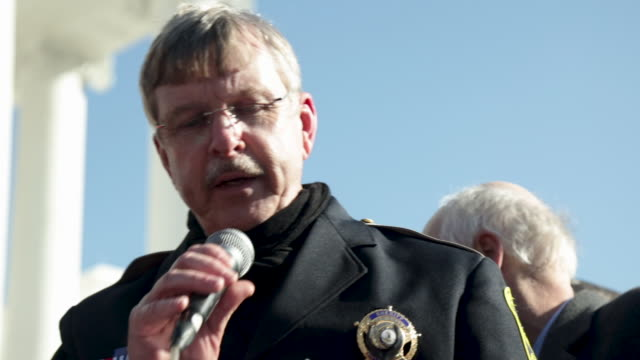 virginia citizens defense league president philip van cleave introduces york county virginia sheriff danny diggs during a gun rights rally on capitol... - virginia us state stock videos & royalty-free footage