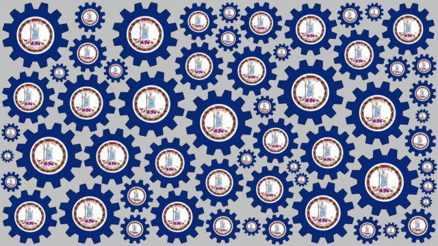 virginia flag gears spinning background - virginia us state stock videos & royalty-free footage