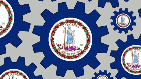 virginia flag gears spinning background zooming out - virginia us state stock videos & royalty-free footage