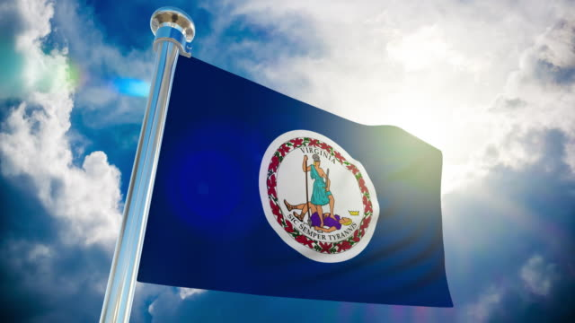 4k - virginia flag | loopable stock video - virginia us state stock videos and b-roll footage