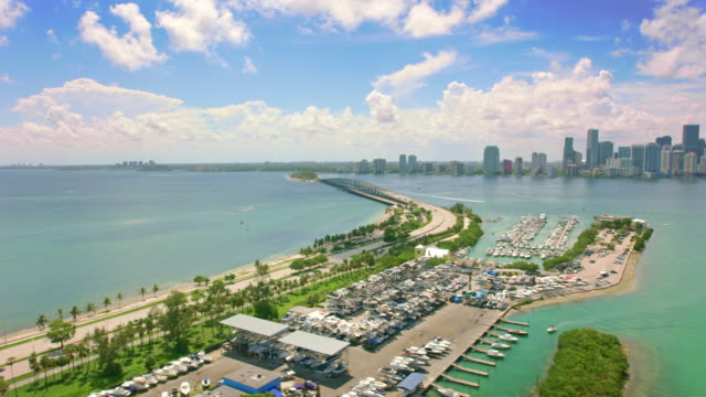 aerial virginia key and rickenbacker causeway, florida - marina stock videos & royalty-free footage