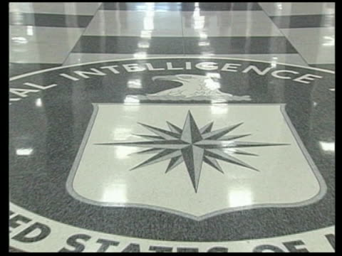 virginia: langley: tcms central intelligence agency crest on floor of hq zoom in - weapons of mass destruction stock videos & royalty-free footage