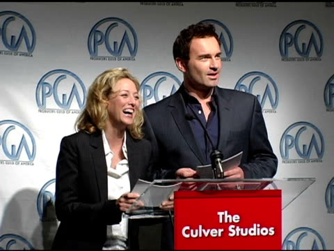 virginia madsen and julian mcmahon at the 2005 producers guild of america awards nomination announcements at culver studios in culver city california... - virginia madsen stock videos & royalty-free footage