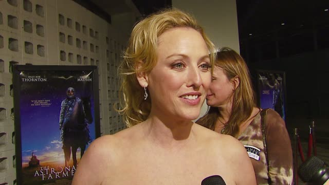 virginia madsen on the importance of the meaning of the film achieving her dream in life at the 'the astronaut farmer' premiere at the cinerama dome... - the astronaut farmer stock videos and b-roll footage