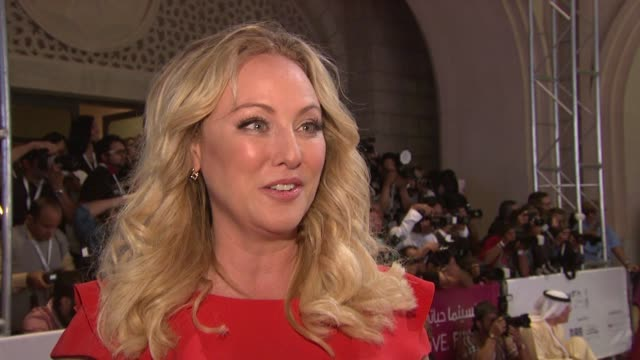 virginia madsen on what brings her to diff, being on the jury panel and what she is looking forward to doing while in dubai at the opening night red... - virginia madsen stock videos & royalty-free footage