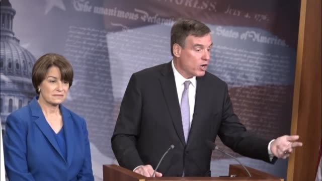 virginia senator mark warner says at a news conference on introducing the honest ads act that he supports the bill to require transparency in... - other stock videos & royalty-free footage