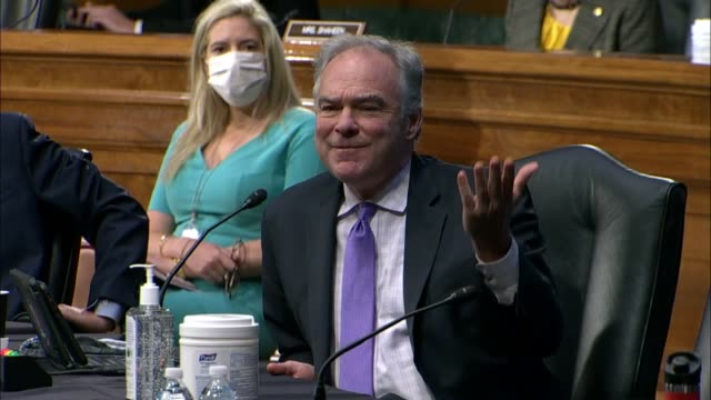 virginia senator tim kaine asks secretary of state mike pompeo at a senate foreign relations committee hearing what his response to rudy giuliani's... - other stock videos & royalty-free footage