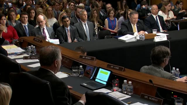 virginia senator tim kaine engages secretary of state mike pompeo at a senate foreign relations committee hearing about taking responsibility for the... - virginia us state stock videos and b-roll footage