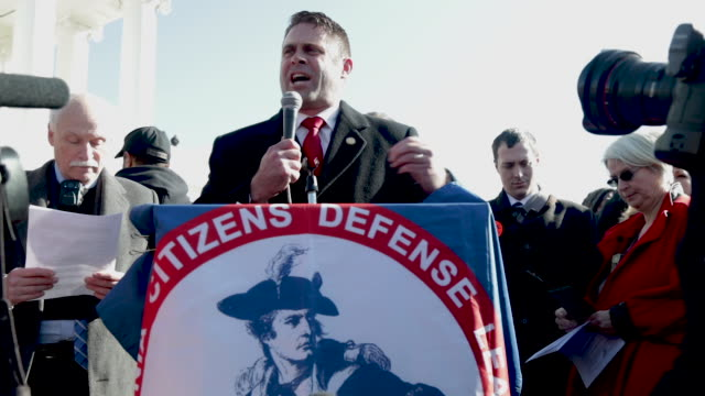virginia state delegate nick freitas addresses a gun rights rally on capitol square near the state capital building january 20 2020 in richmond... - virginia us state stock videos & royalty-free footage