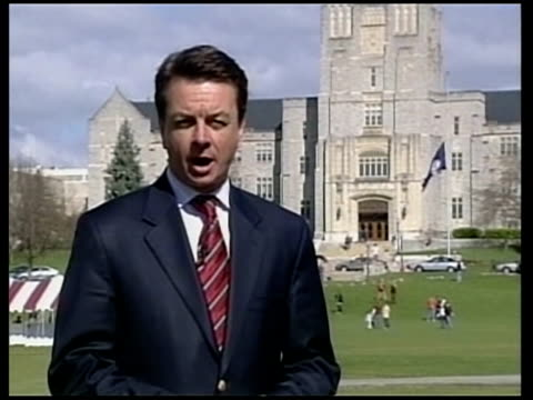 vídeos de stock e filmes b-roll de british born survivor/ students remember victims reporter to camera - virginia polytechnic institute and state university