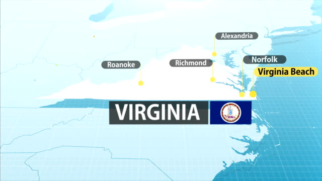virginia - us state map - virginia us state stock videos and b-roll footage