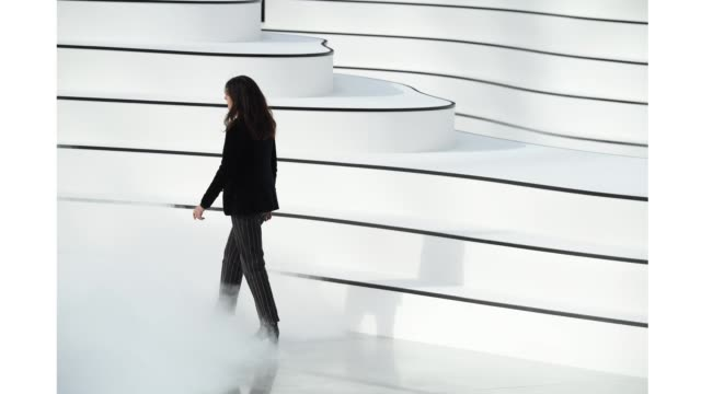 virginie viard walks the runway during the chanel as part of the paris fashion week womenswear fall/winter 2020/2021 on march 03 2020 in paris france - gif stock videos & royalty-free footage