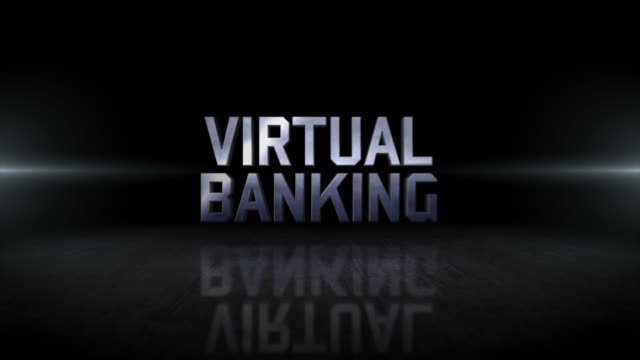 仮想バンキングワード4kビジネスデジタル技術コンセプトストックビデオ - ビジカジ点の映像素材/bロール