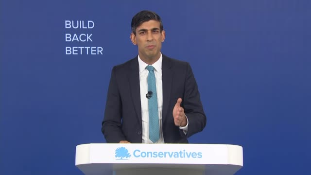 virtual conservative party conference 2020: rishi sunak speech; england: london: int part 1 of 3 rishi sunak mp along to podium and speech sot -... - working stock videos & royalty-free footage