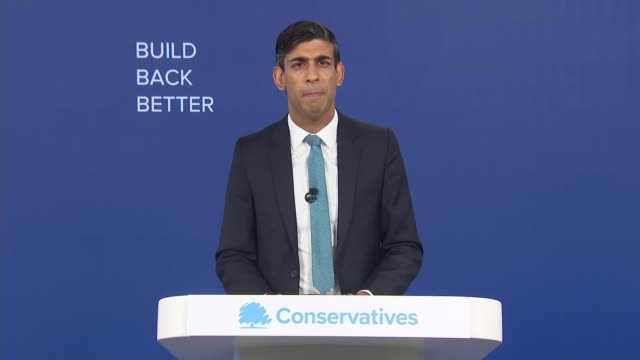 virtual conservative party conference 2020: rishi sunak speech; england: london: int part 2 of 3 rishi sunak mp speech sot - the furlough scheme, a... - growth stock videos & royalty-free footage