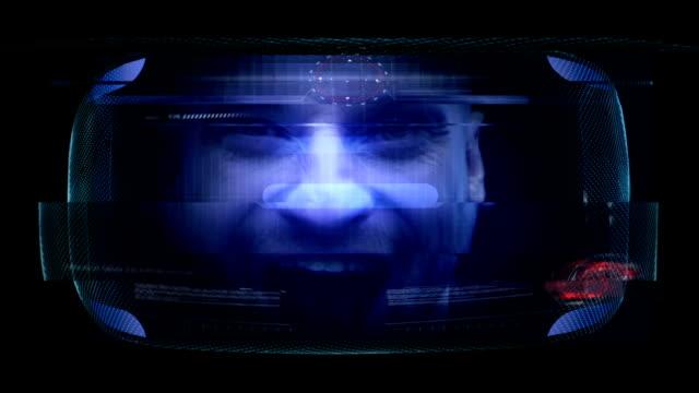 virtual gaming. young man having fun in virtual world - 3d human face stock videos & royalty-free footage