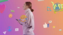 Virtual Reality Concept: Young Woman Uses Smartphone in 3D Internet World. Smiley Faces, e-Commerce, e-Business, Shopping Basket, Subscribe, Cloud Service, Buttons, Icons. 360 Degree Tracking Arc