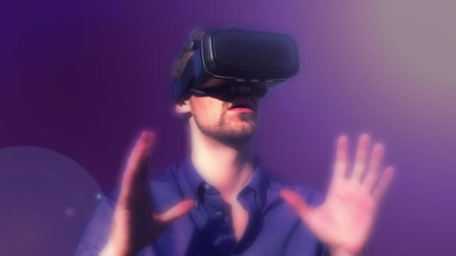 Virtual reality gamer. Purple background. Version 4