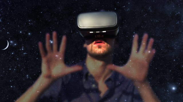 Virtual reality gamer.