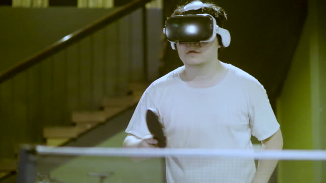 virtual reality glasses and table tennis - table tennis stock videos & royalty-free footage
