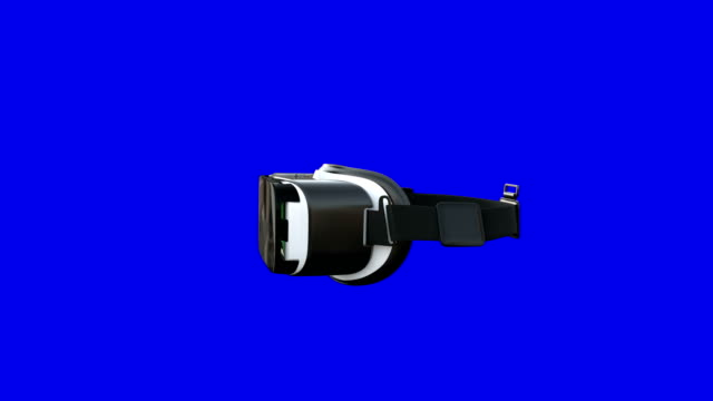 virtual-reality-headset dreht sich auf blauem hintergrund um - brille stock-videos und b-roll-filmmaterial