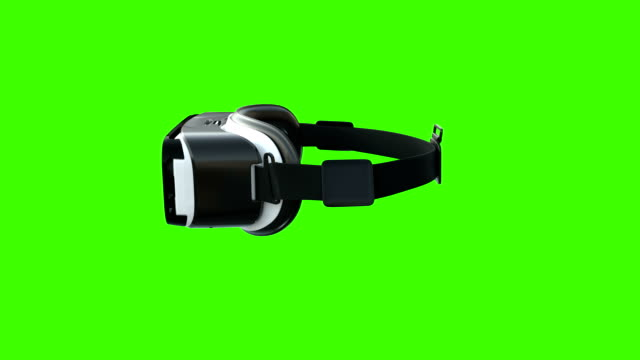 virtual-reality-headset dreht sich auf greenscreen um - brille stock-videos und b-roll-filmmaterial