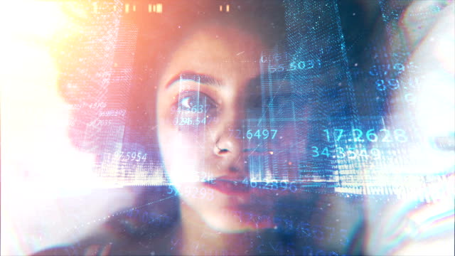 virtual reality, numbers, big data background - realtà aumentata video stock e b–roll
