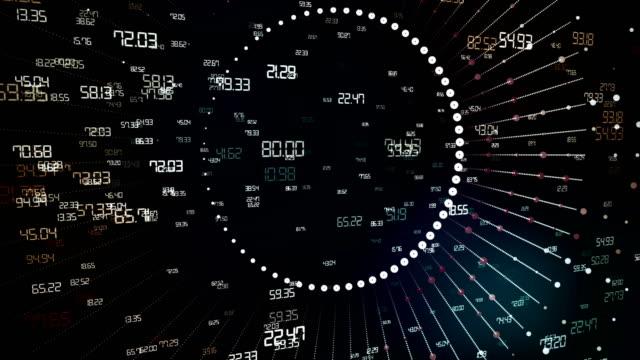 バーチャルリアリティ、数字、ビッグデータの背景 - big data点の映像素材/bロール