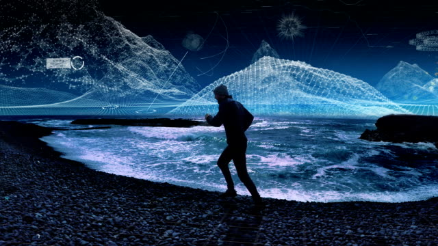 virtual reality training. man running along rocky coast - cyberspace stock videos & royalty-free footage