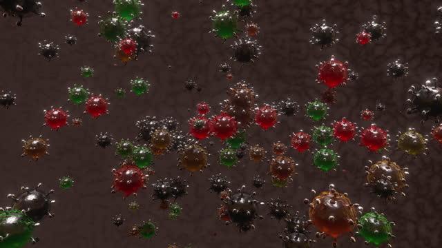 vídeos de stock e filmes b-roll de virus cells floating - mutação genética