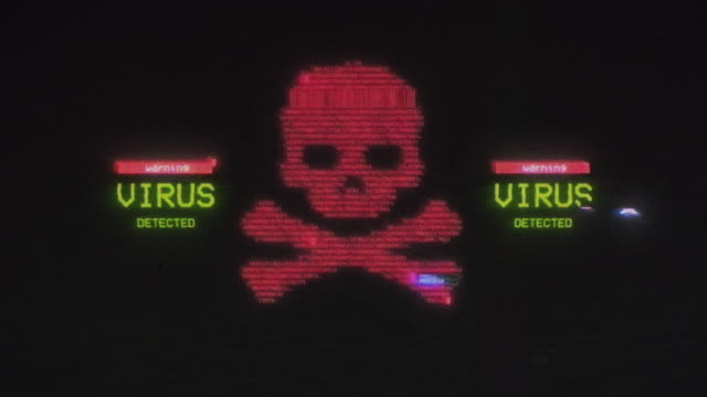virus detected warning background with vhs damages applied - biohazard symbol stock videos & royalty-free footage