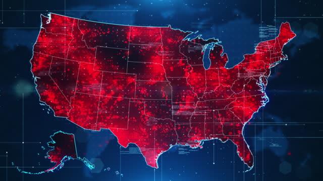vídeos y material grabado en eventos de stock de pandemia por propagación del virus en ee.uu. - mapa