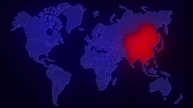 世界地図に広がるウイルス - 感染症点の映像素材/bロール