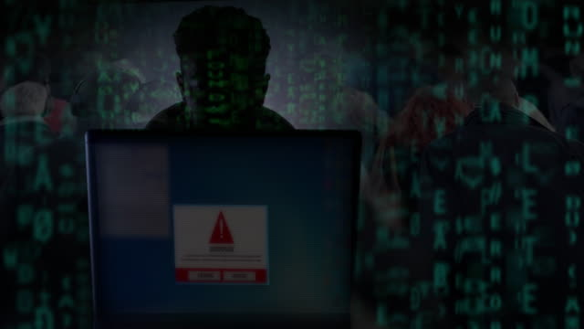 virus warning. hacker. - obscured face stock videos & royalty-free footage