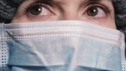 Virus. Woman in protective gauze mask to protect against viral infection.